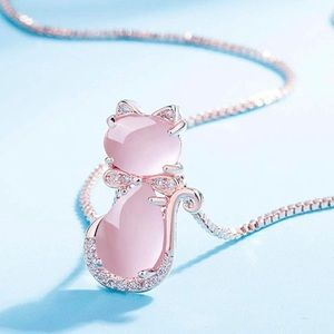 Rose Gold Plated Pink Cat Necklace